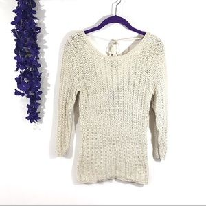 Gap 3/4 sleeve chunky knit beige pullover sweater